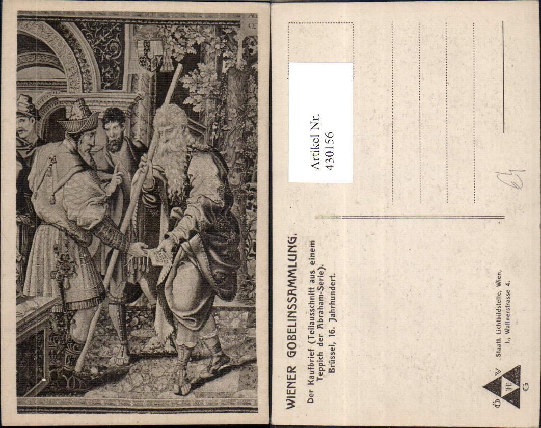 430156,Der Kaufbrief Teppich Abraham Serie Wien Gobelinssammlung ...