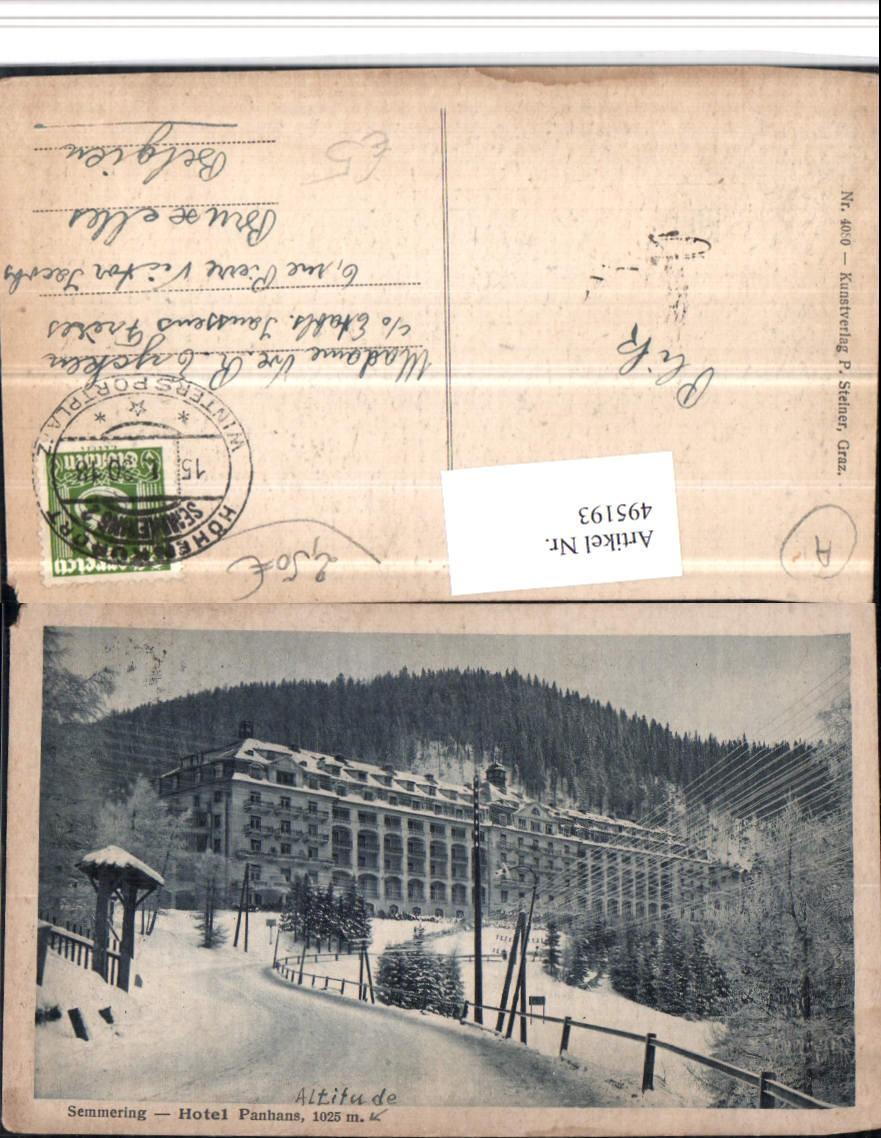 495193 Semmering Hotel Panhans Winterbild Ansichtskarten