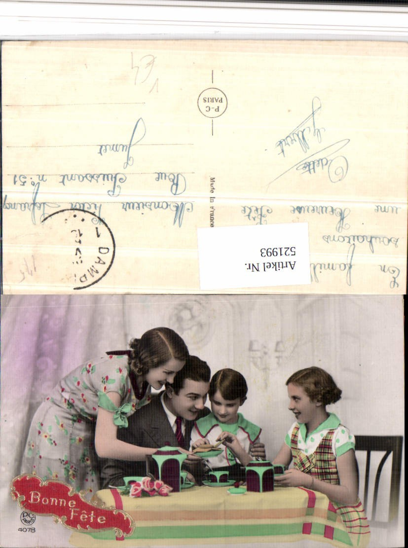 521993 bonne fete familie eltern kinder essen kekse pub p c paris 4078 ansichtskarten motive. Black Bedroom Furniture Sets. Home Design Ideas