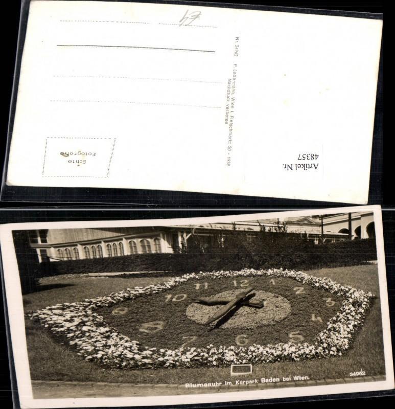 48357,Baden Bei Wien Kuranstalt Blumenuhr Ansichtskarten