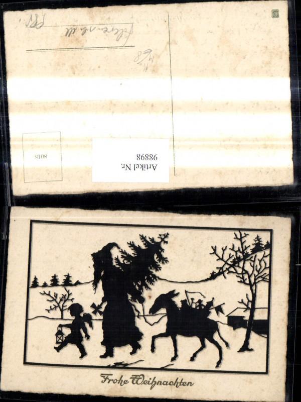 98898 k nstler ak scherenschnitt silhouette weihnachtsmann for Scherenschnitt weihnachten