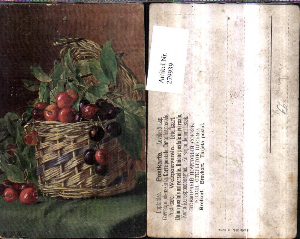 Künstler Essen 279939 künstler ak m billing essen stillleben kirschen früchte korb