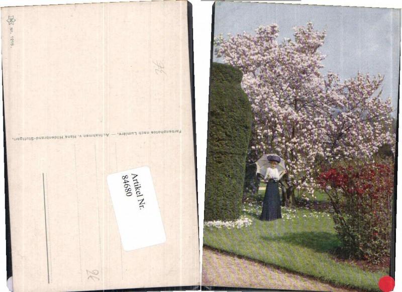 84680 k nstlerkarte jugendstil frau schirm garten - Garten jugendstil ...