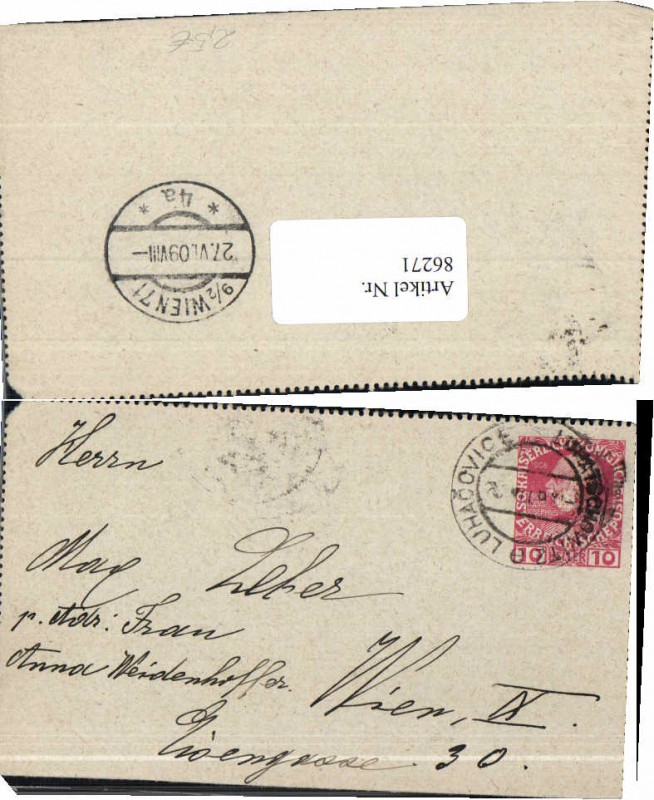 Brief Nach Wien Adressieren : Brief luhacovice nach wien sonstige heimatbelege